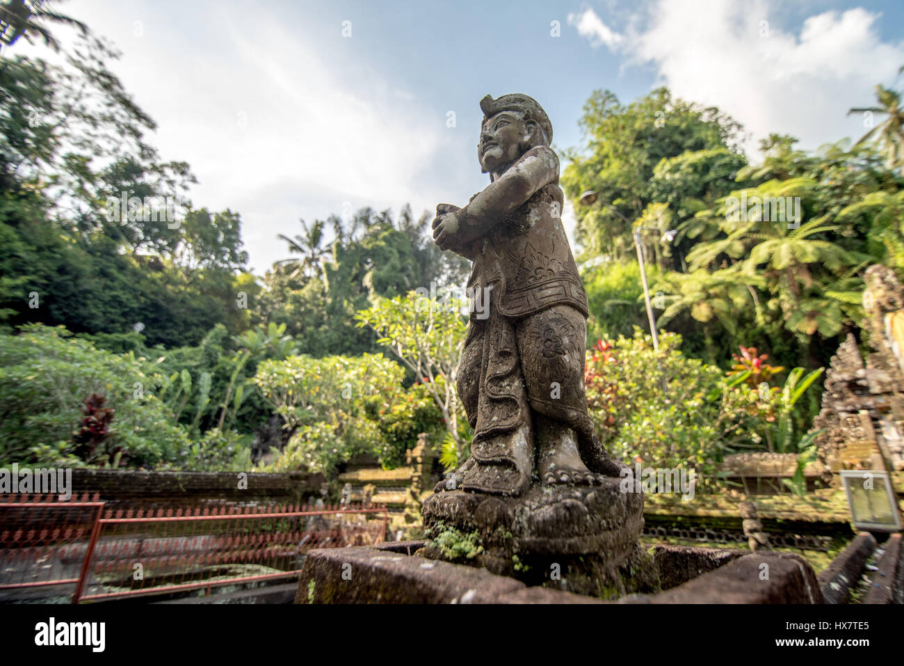 sculpture in Pura Tirta Empul, ubud temple, bali - Stock Image