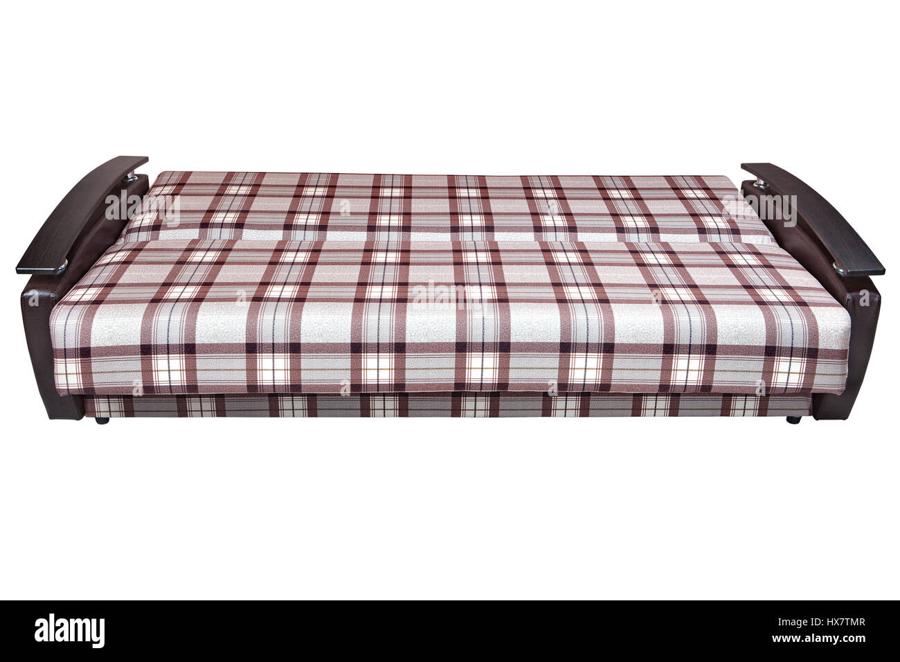 When Folded, Modern Checkered Fabric Sofa Bed 2 Seater, Isolated On White  Background, Include Clipping Path.