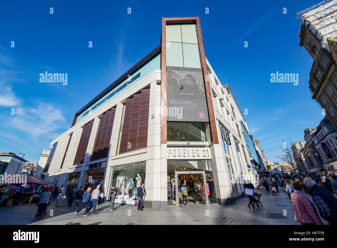 Forever 21 store in Whitechapel  in the centre of Liverpool next to the main shopping areas of Church Street, Lord - Stock Image