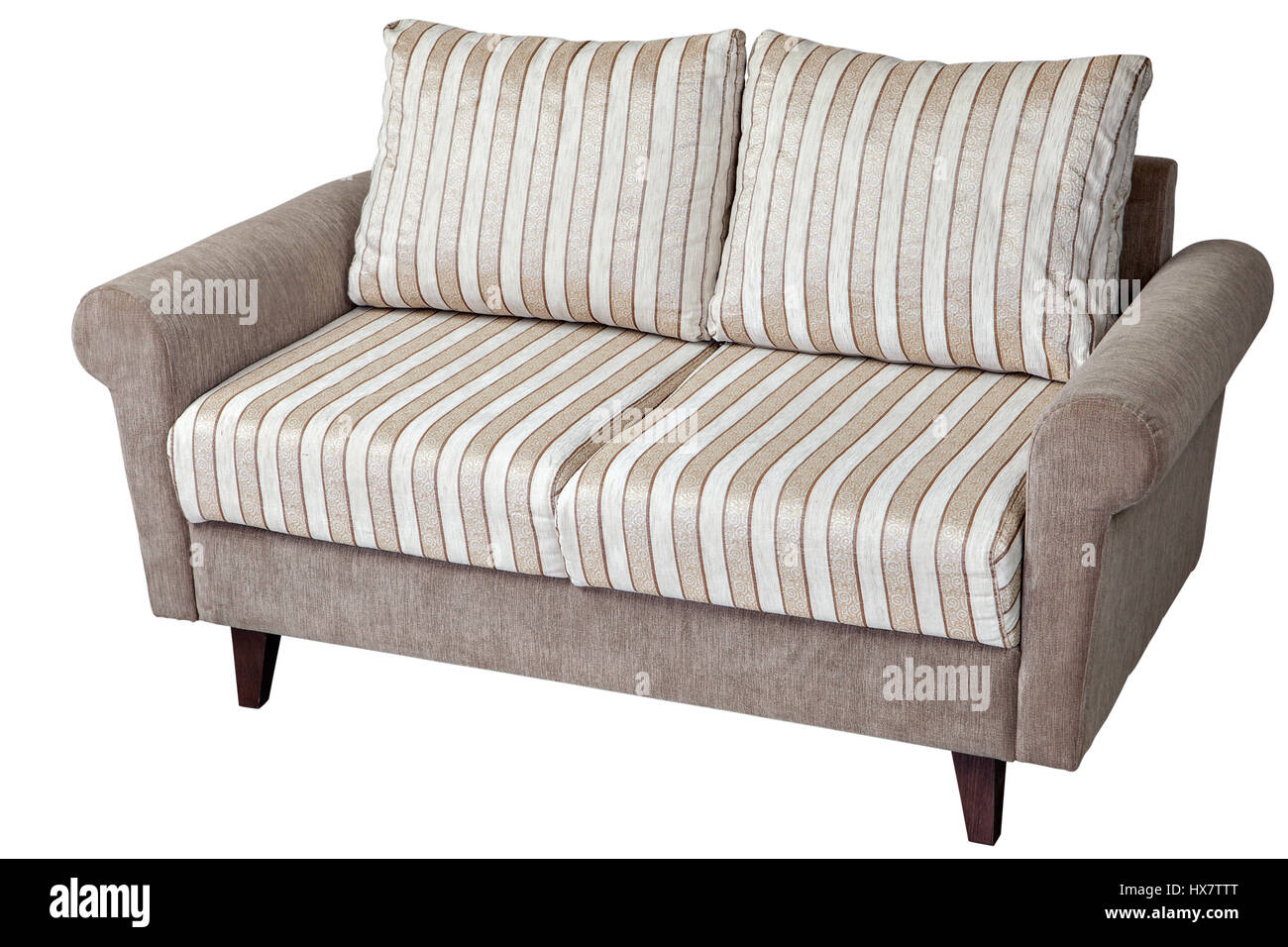 Two Seater Modern Sofa Upholstered In Fabric With Pillows In Striped  Material, Isolated On White Background With Clipping Path.