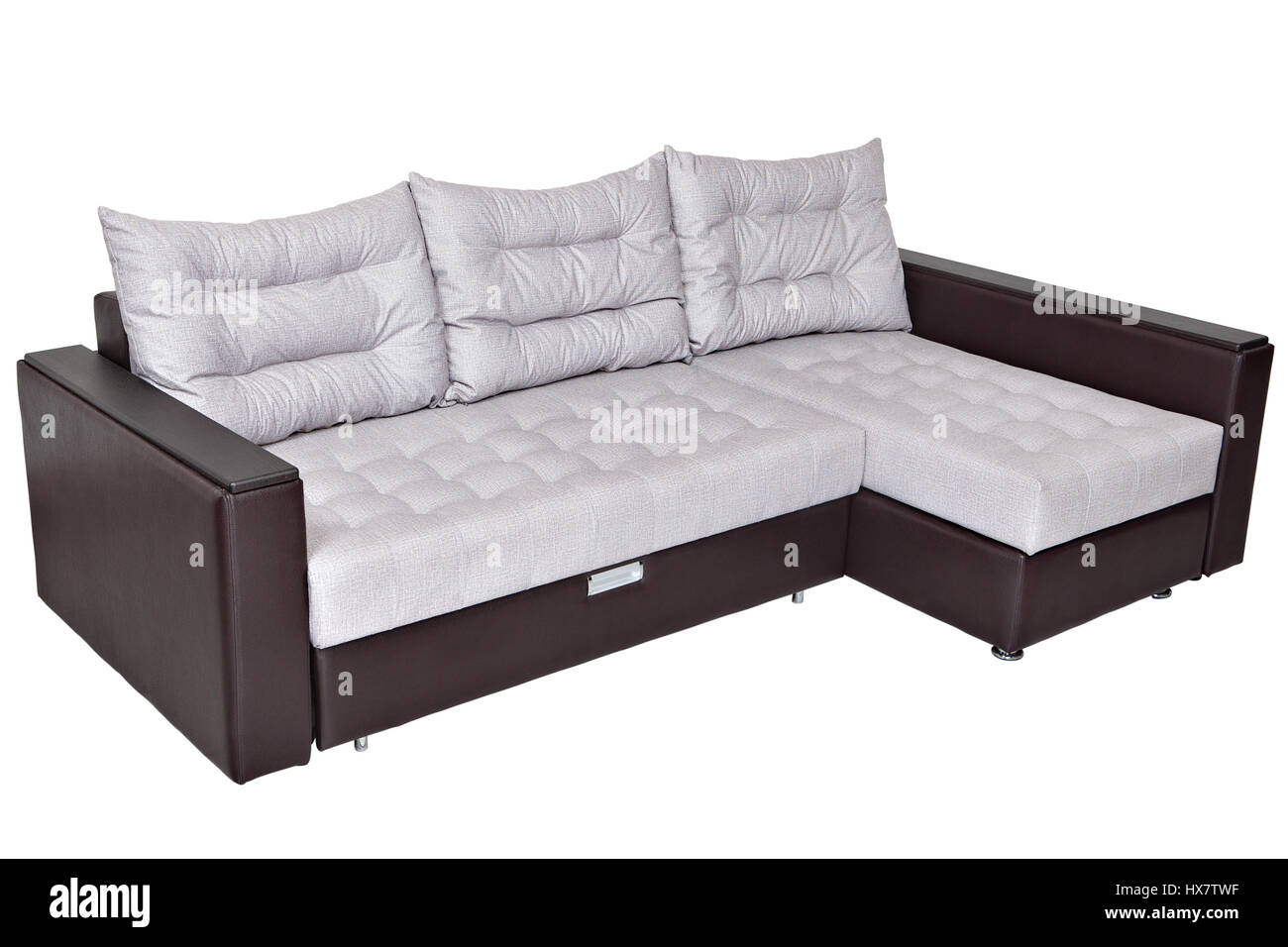 Corner Convertible Sofa Bed With Storage System, Upholstery Soft White  Fabric And Armrests Upholstered Brown Leatherette, Isolated On A White  Backgro