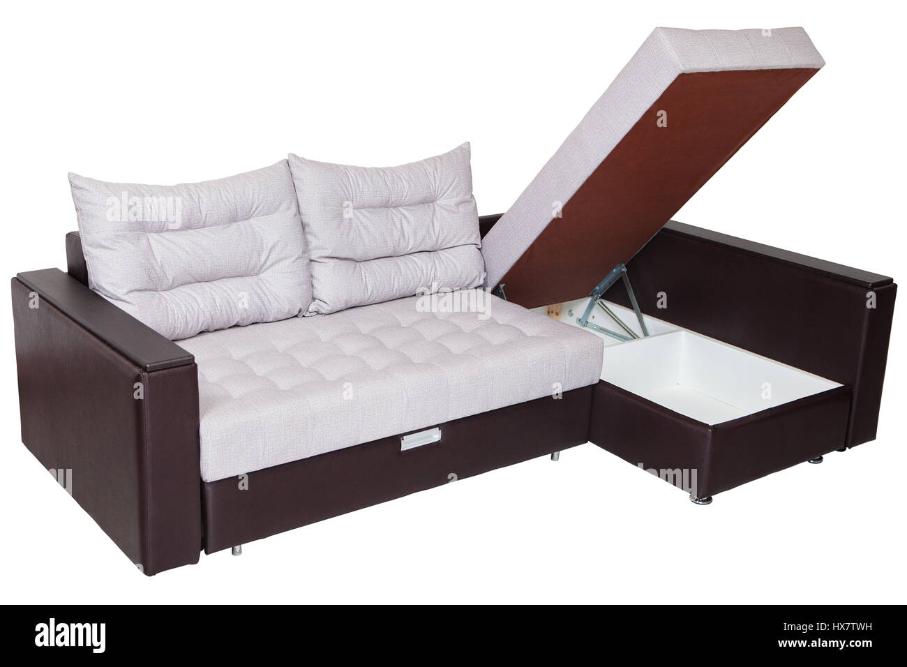 Corner convertible sofa-bed with storage space, upholstery ...