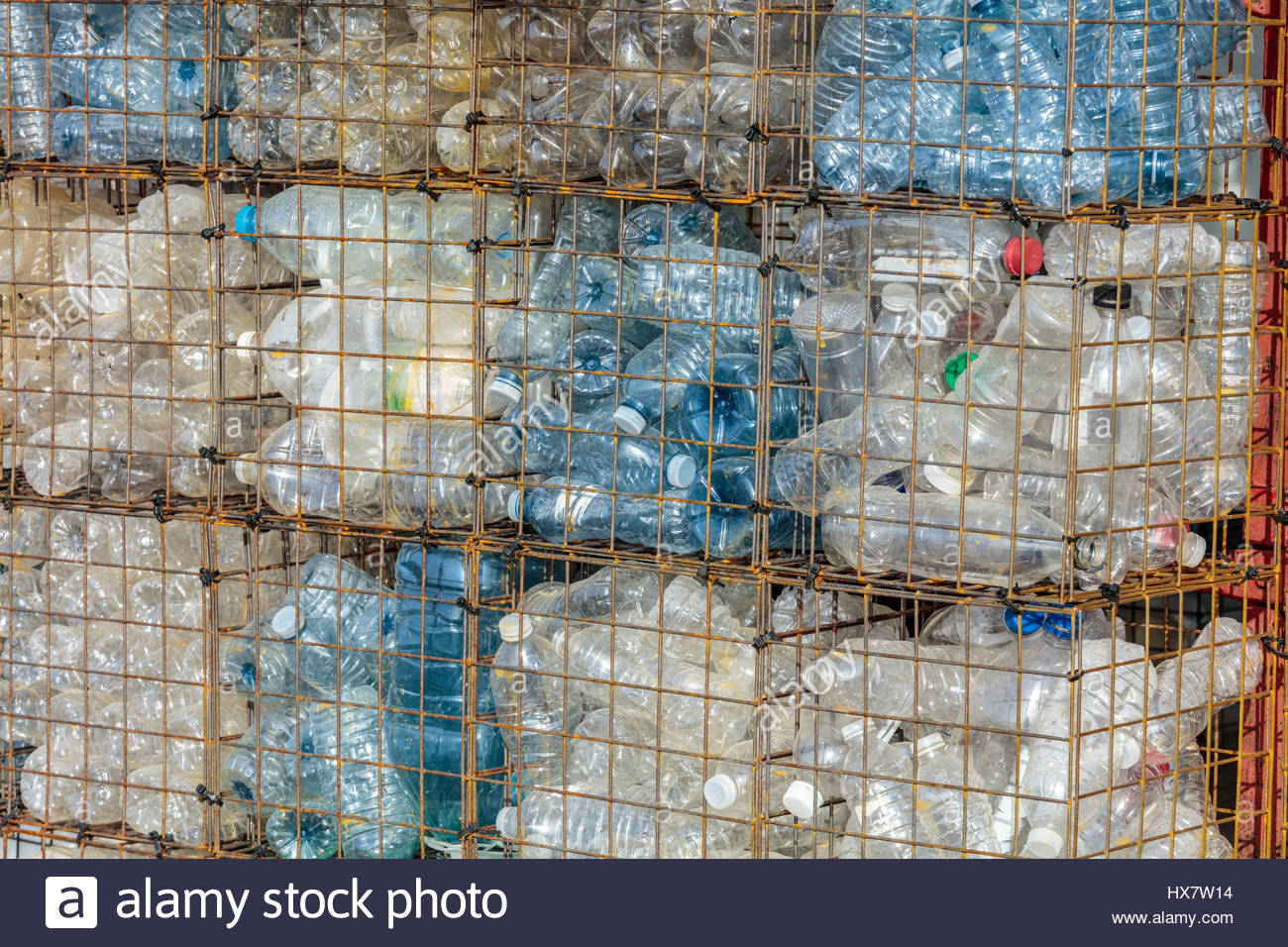 plastic environment plastic bottles discarded plastic bottles garbage trash rubbish litter pollutants waste flotsam - Stock Image