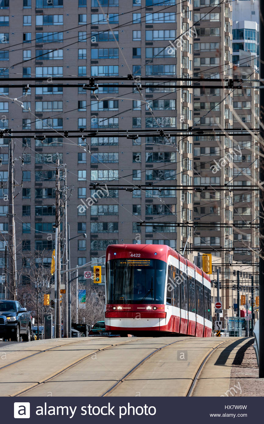 Flexity Outlook Streetcar manufactured by Bombardier for the TTC on the 509 Harbourfront route in Toronto Ontario - Stock Image