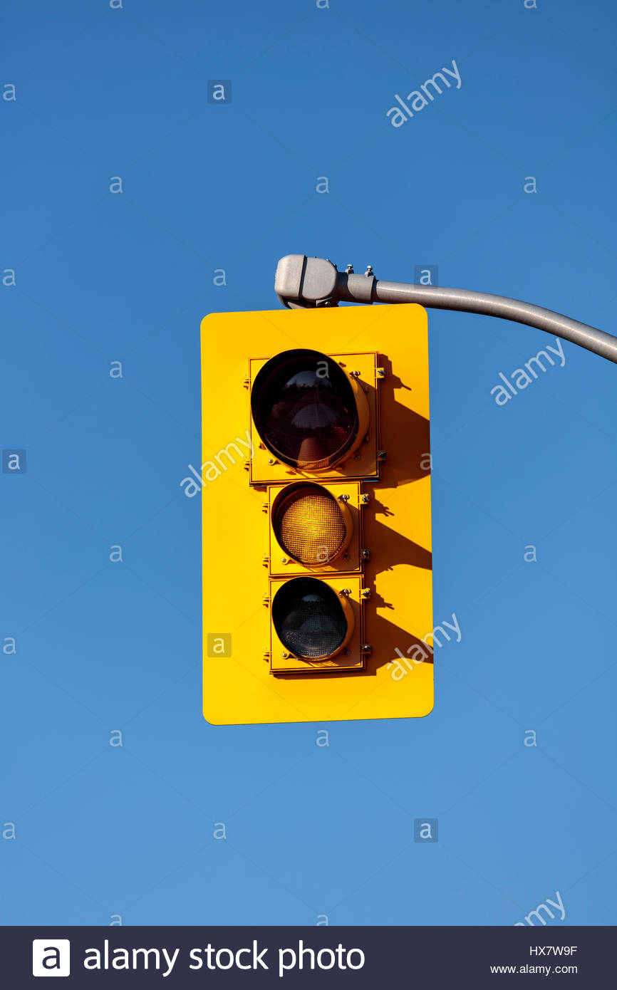 traffic lights, showing yellow, yellow, traffic signals, traffic lamps, signal lights, traffic control signals, - Stock Image