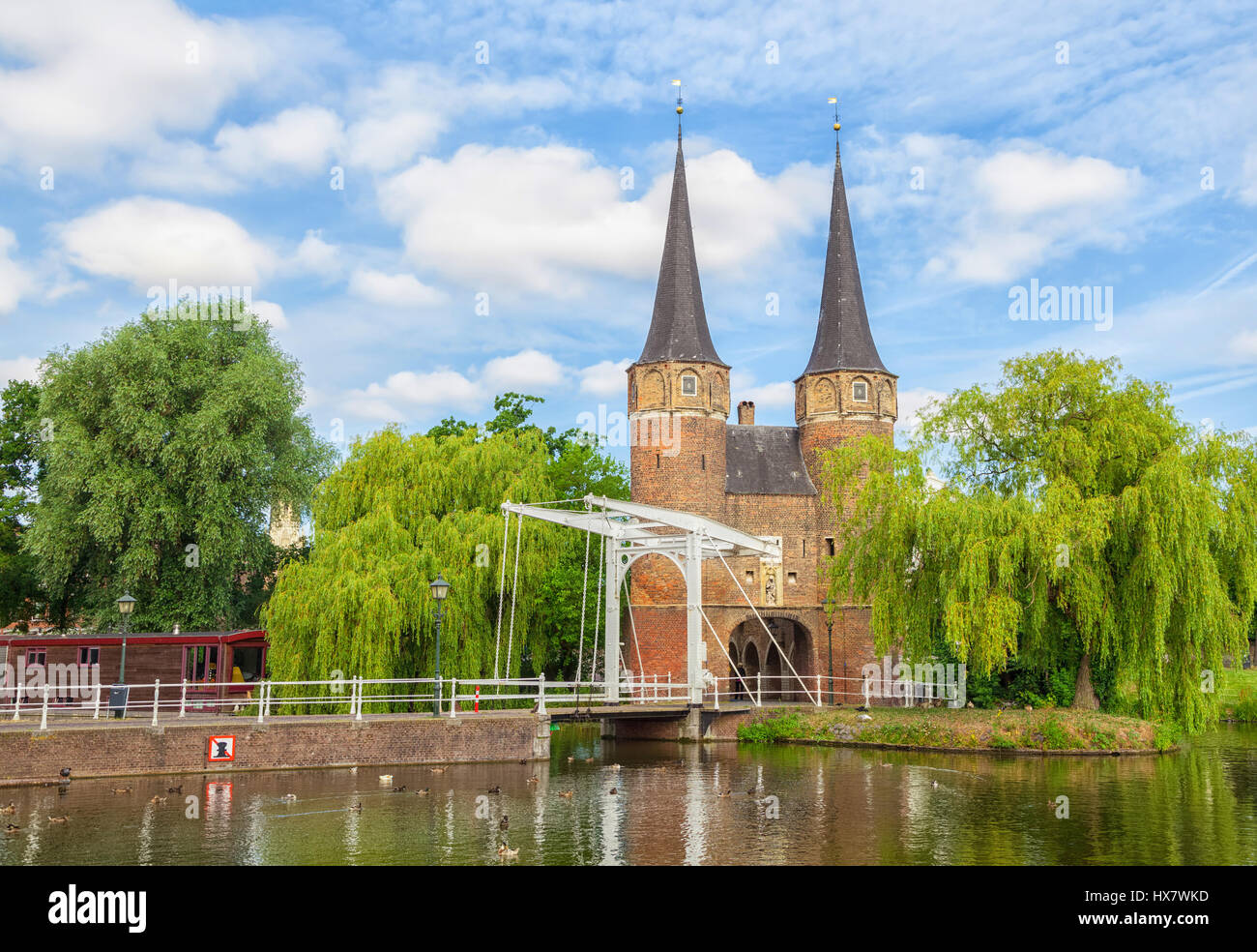 The Eastern Gate (Oostpoort) in Delft, an example of Brick Gothic northern European architecture, Netherlands - Stock Image