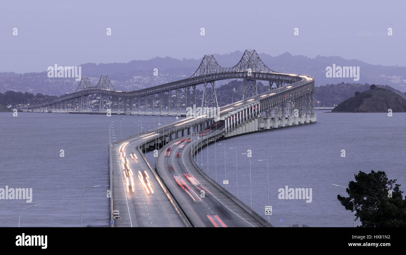 Dusk Over The Richmond-San Rafael Bridge - Stock Image