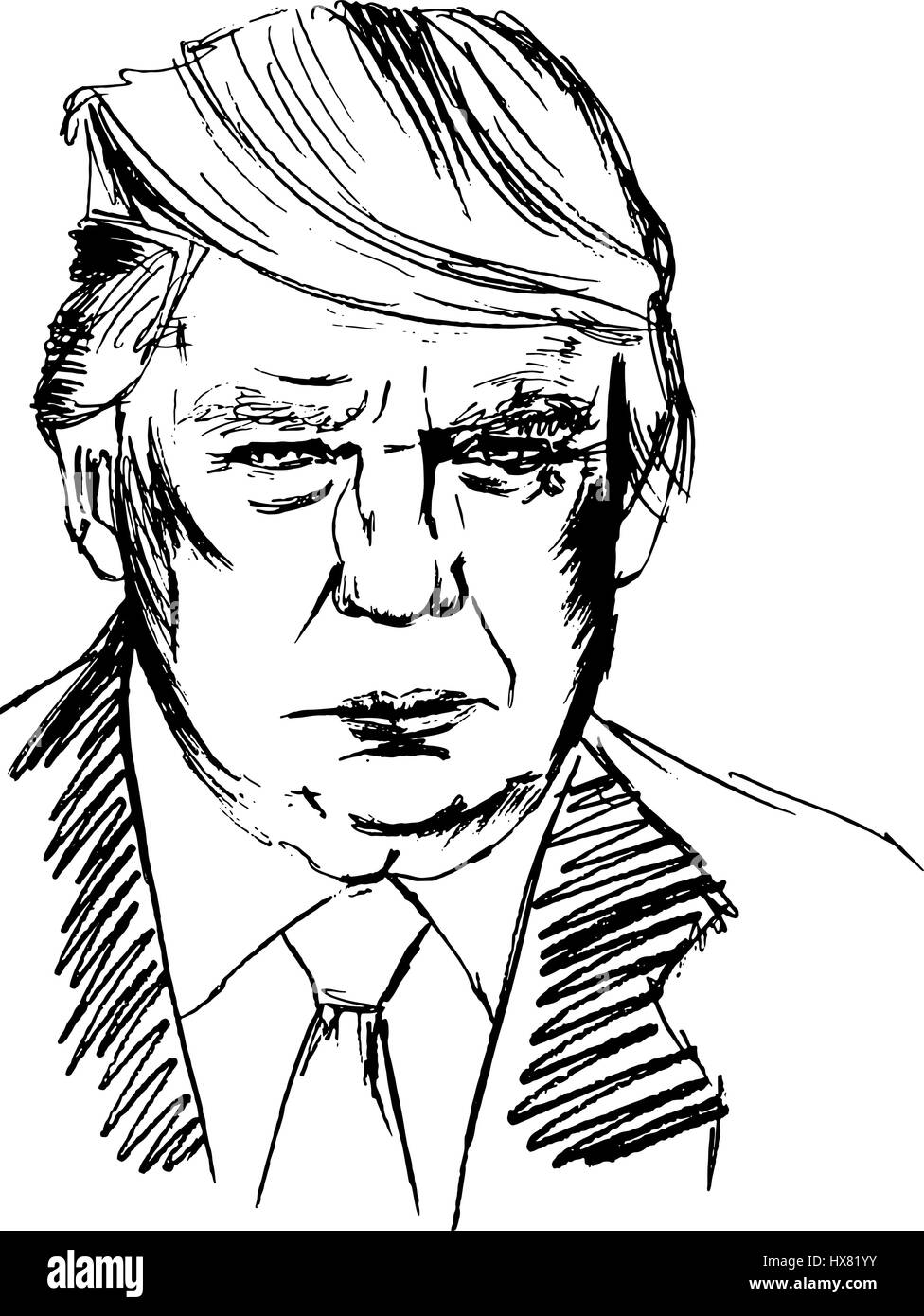 Vector portrait of US President Donald Trump - Stock Image