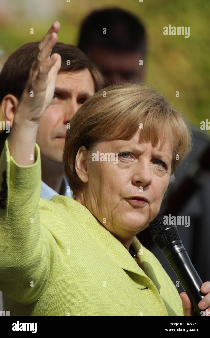 Berlin, Germany, August 31st, 2014: Chancellor Angela Merkel meets with visitors during government open door day. - Stock Image