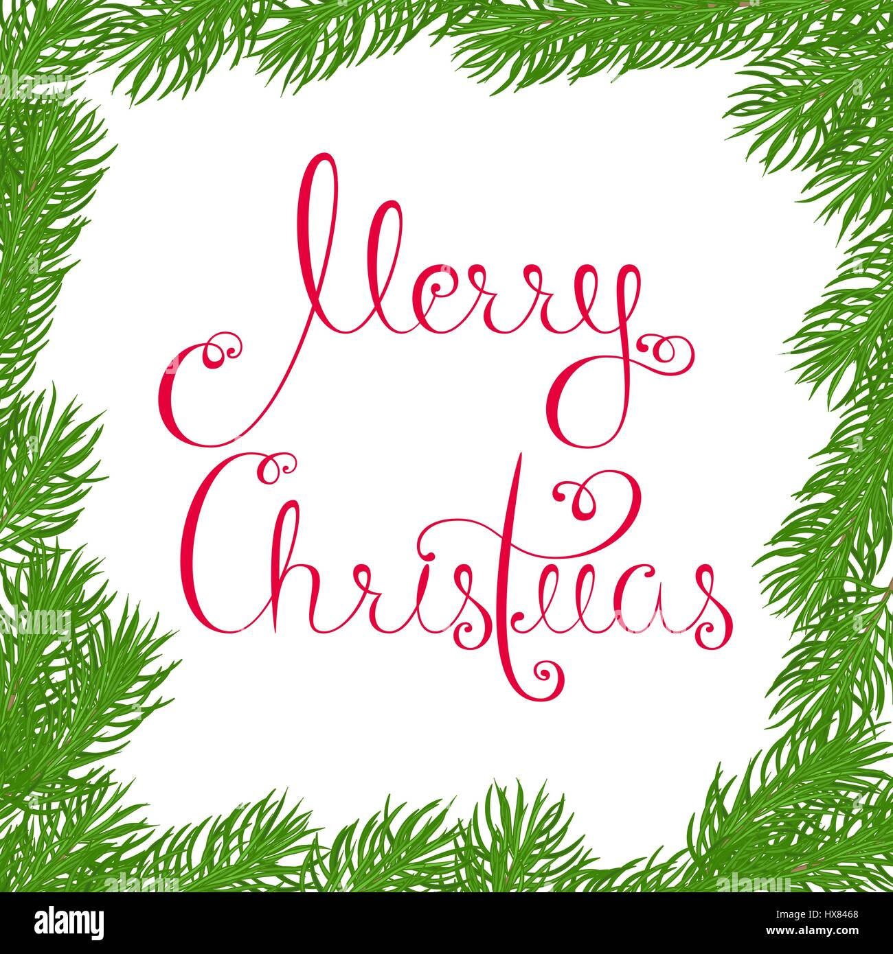 Festive square frame made of fir branches with Merry Christmas greetings written with beautiful calligraphy in red - Stock Image