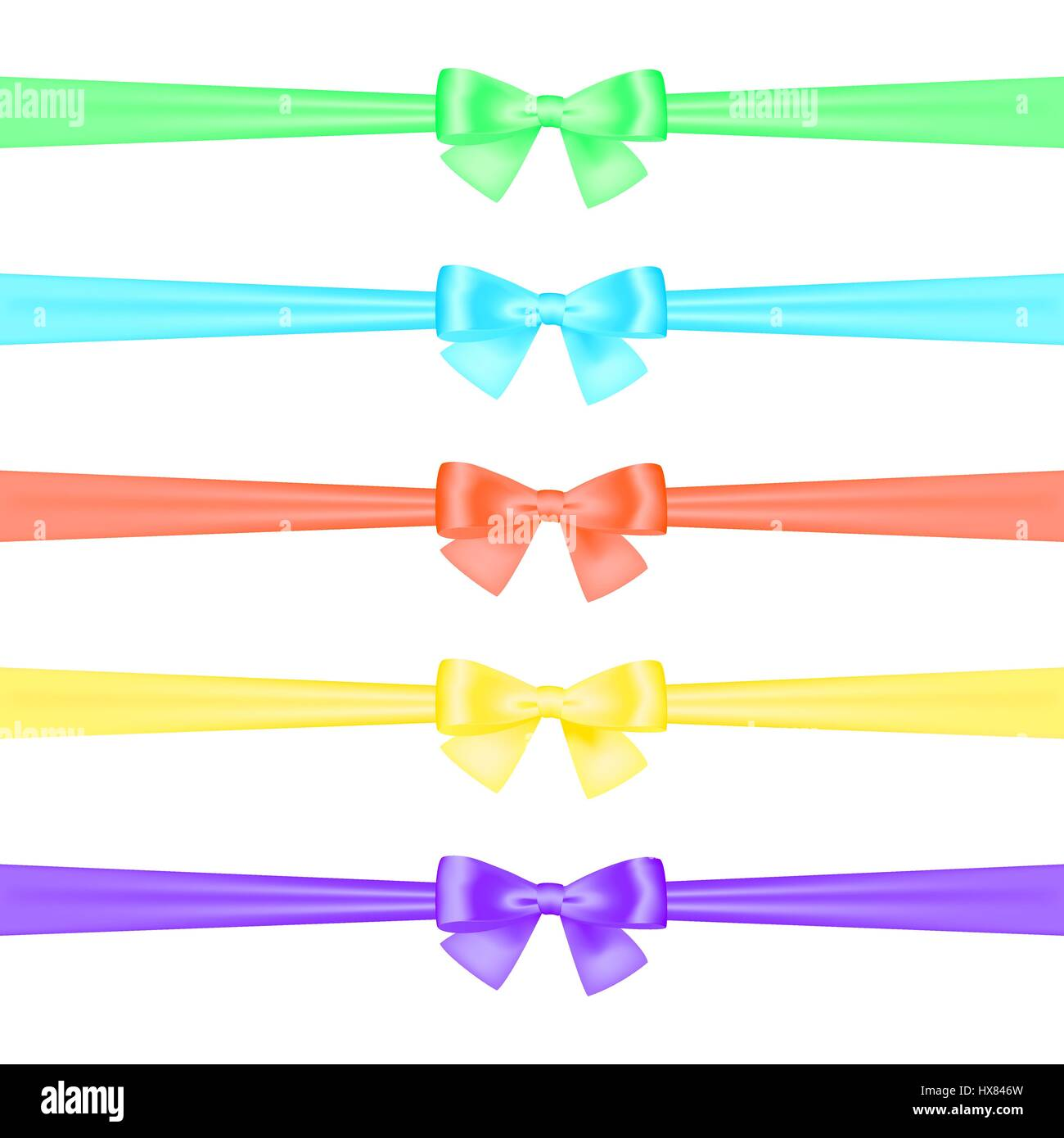 A set of satin ribbons tied in bows of different colors on a white background. Isolated. Vector illustration - Stock Vector