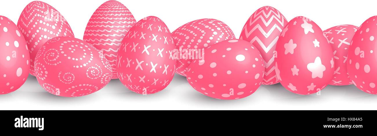 Seamless horizontal Easter border of red eggs decorated with white patterns on a white background. Isolated. Vector Stock Vector