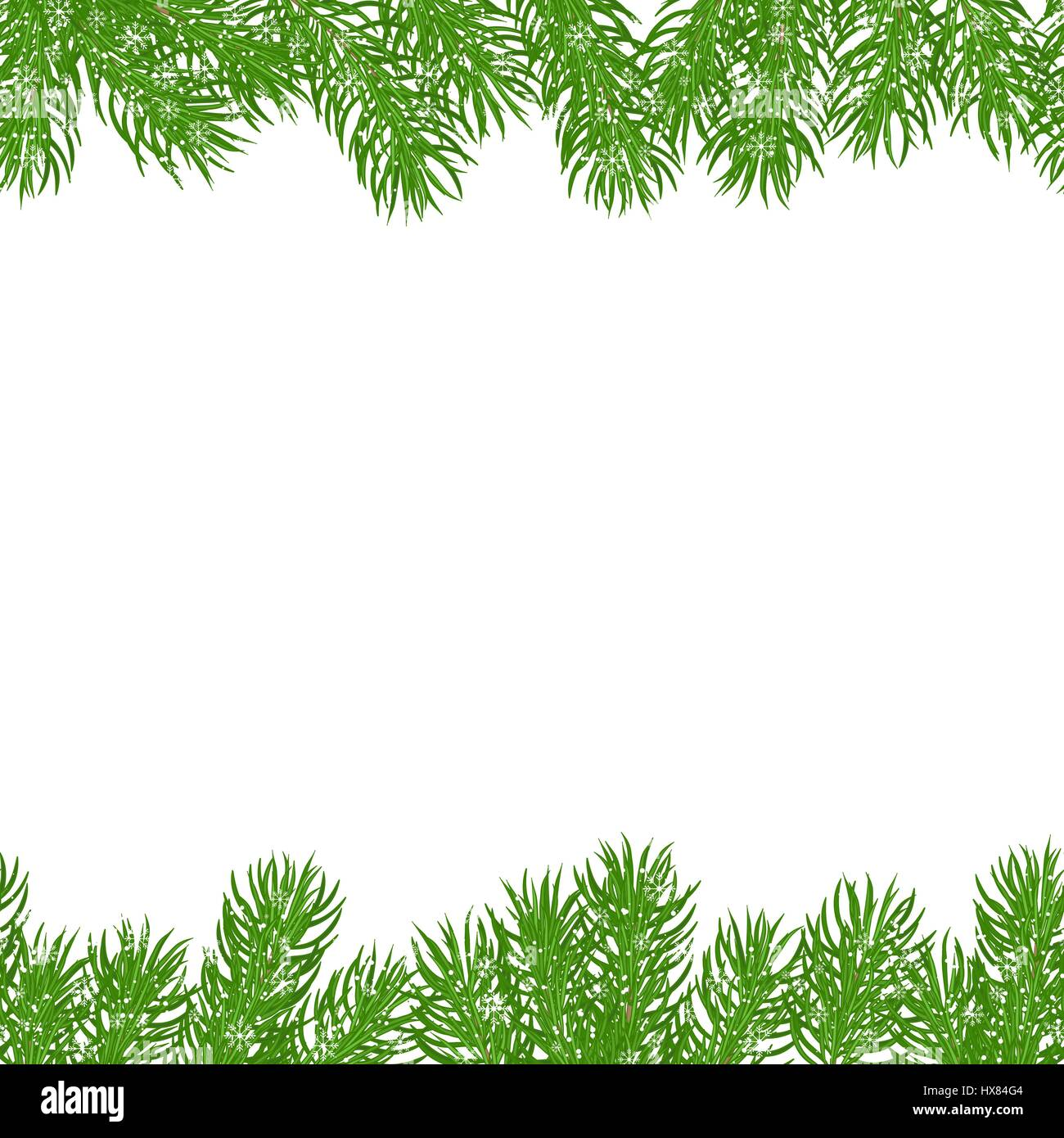 Seamless horizontal different borders of green spruce branches, covered with snow and snowflakes. Christmas festive - Stock Vector