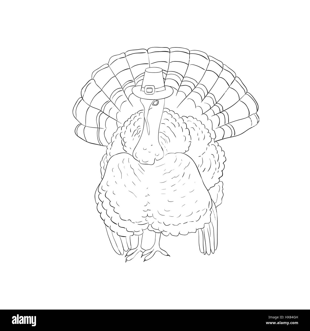 Turkey hat Thanksgiving. Hat separately from the turkey. Isolated. Coloring. Dark outline with white fill. Hand Stock Vector