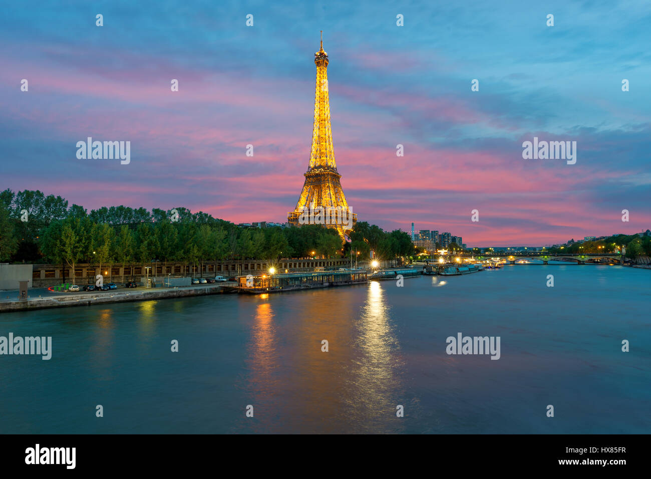 PARIS, FRANCE - May 8, 2016 : Cityscape of Paris, France with Eiffel Tower at night on . The Eiffel tower is the - Stock Image