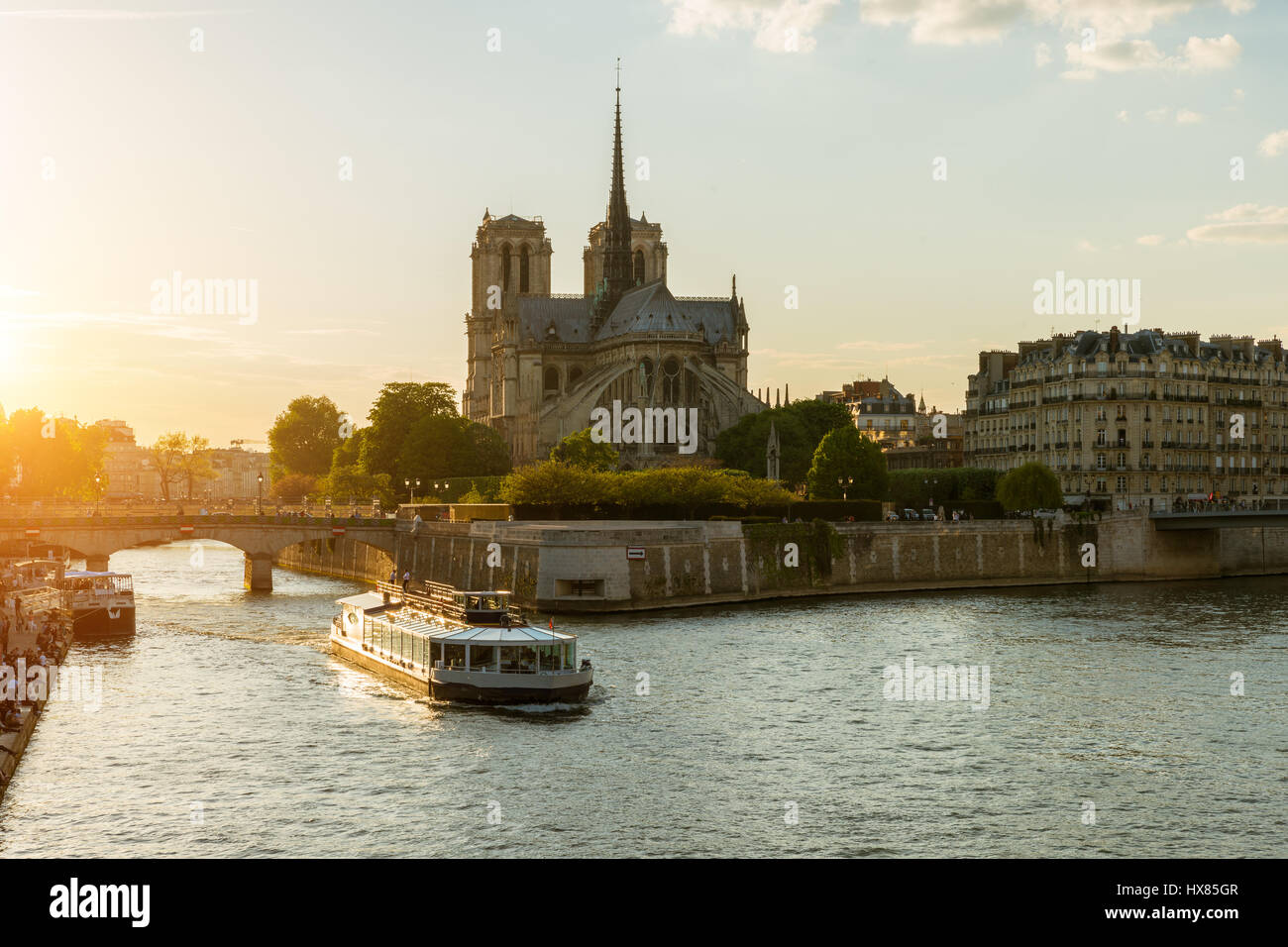 Notre Dame de Paris with cruise ship on Seine river in Paris, France - Stock Image