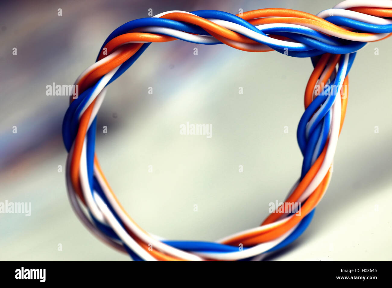 Mess Of Electric Cables And Telephone Wires Stock Photos Lan Plug Wiring Wire Color Image