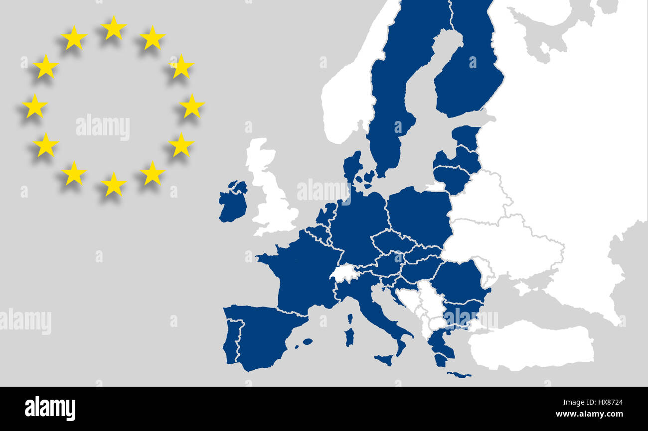 EU map European union - Countries and borders - EU sign stars - Brexit - Stock Image