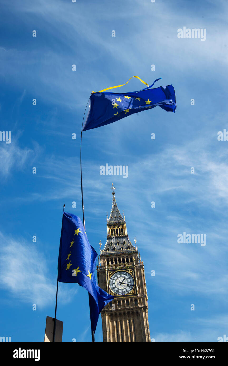 Unite for Europe March on Parliament  25th March 2017 , London. Big Ben and two European flags. - Stock Image