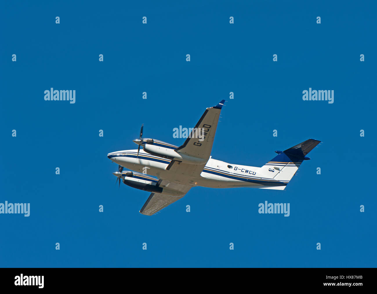 B200GT King Air departing Inverness Dalcross Airport in Highland Region. Scotland UK. - Stock Image