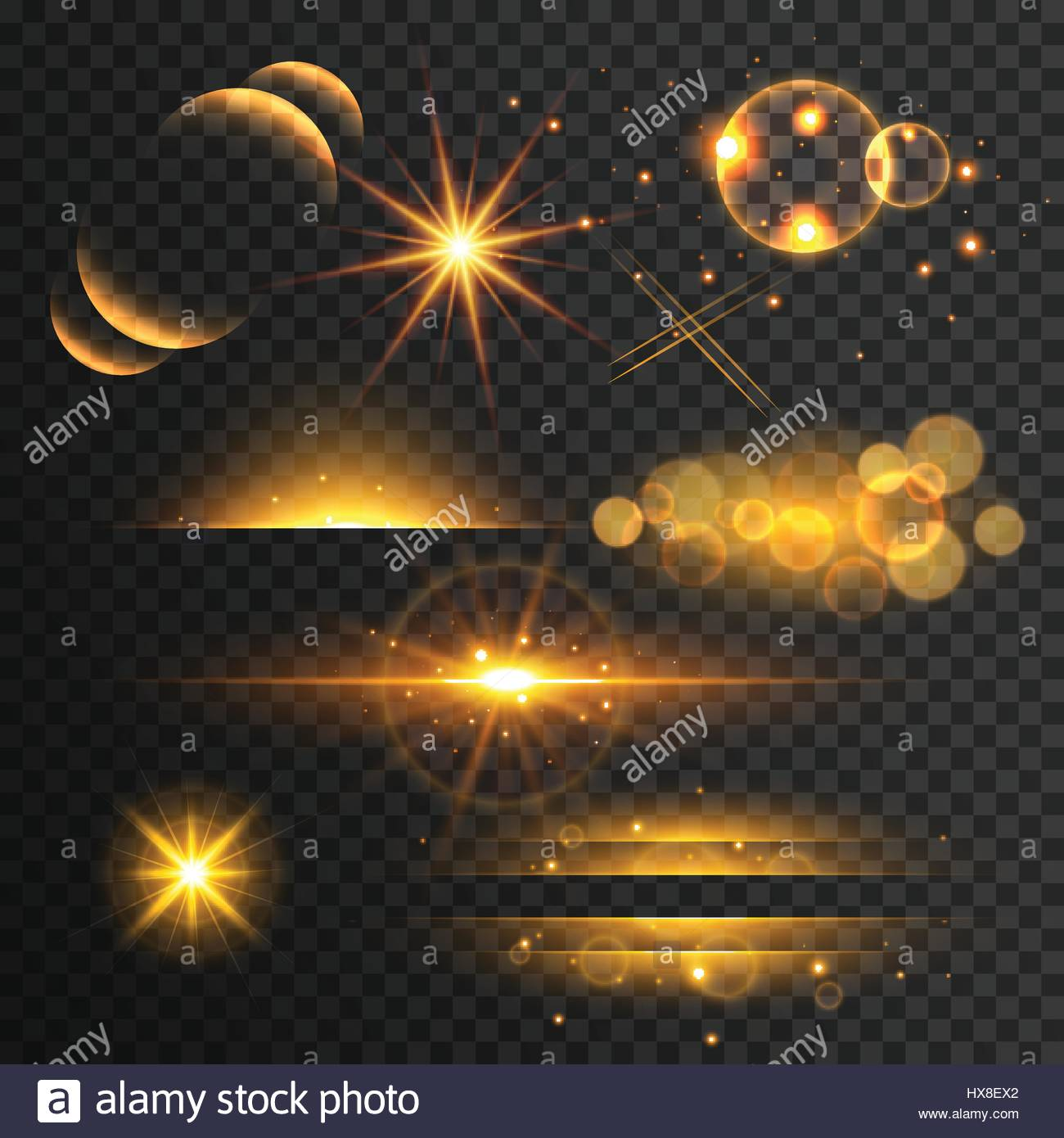 set of golden glitters lights and sparkles with lens effect on transparent background Stock Vector