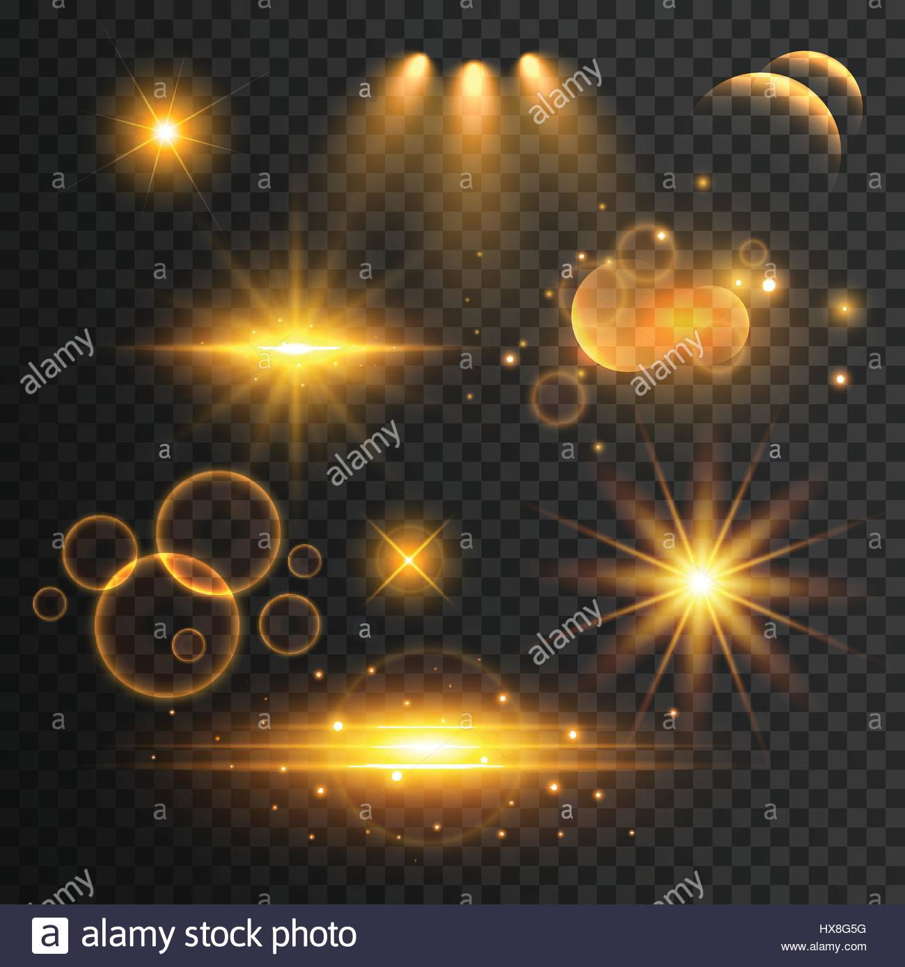set of transparent lens flare and light effects Stock Vector