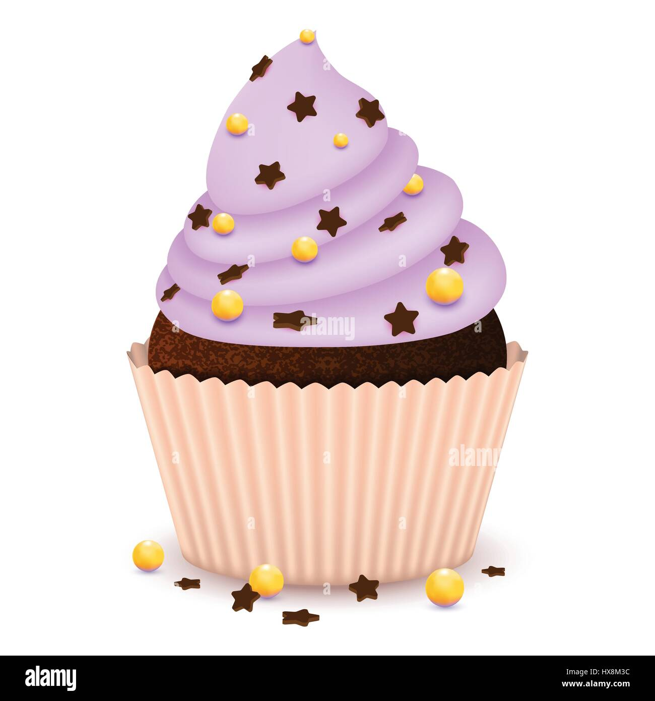 Chocolate cupcake with decorate - Stock Vector