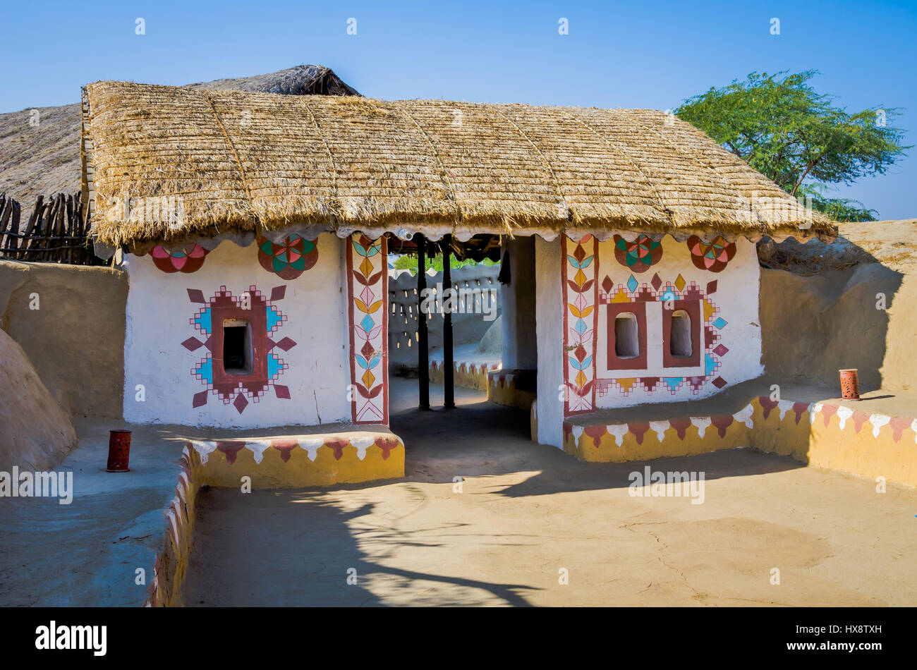 Kutch india december 27 2016 exterior of a decorative entrance of house