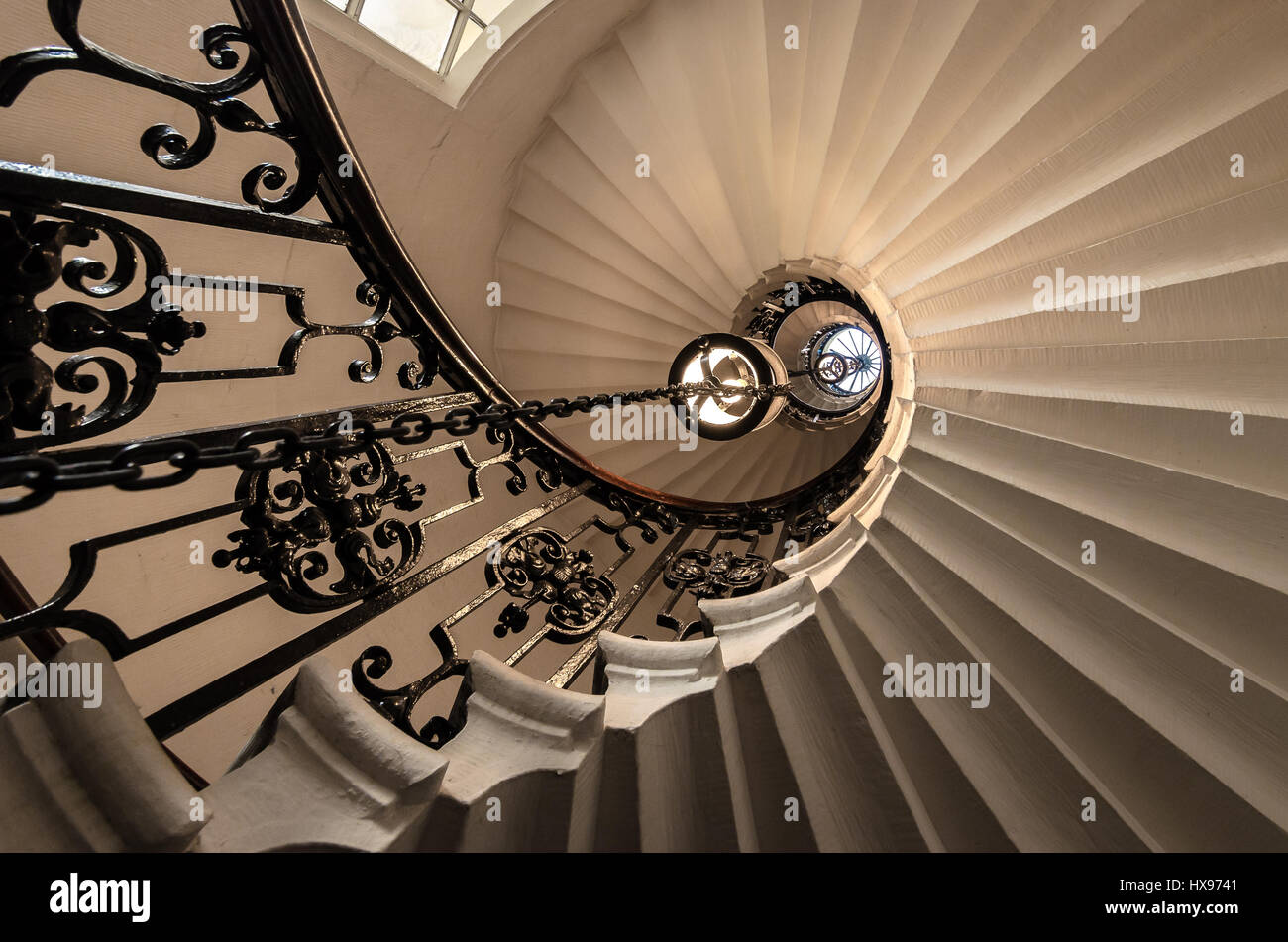 London Southbank Greenwich Maritime Royal Naval College neo classical Chapel spiral helical staircase Stock Photo