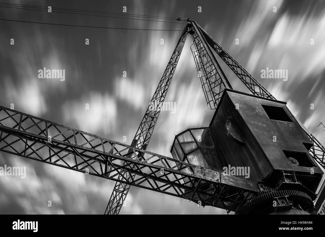 Crane at Rotherhithe London Long Exposure Black and White - Stock Image