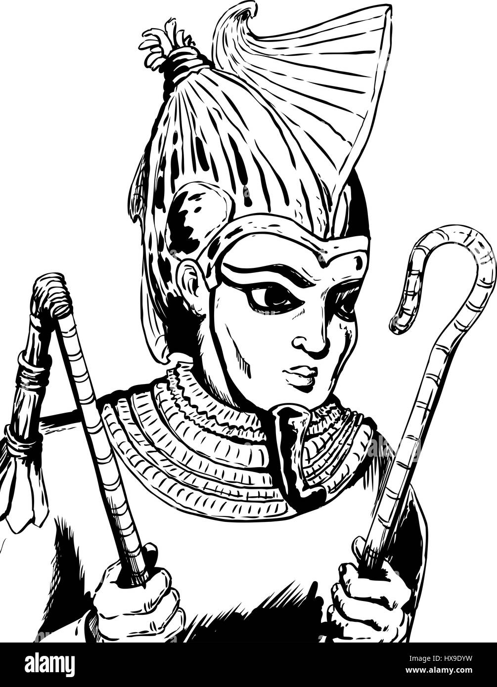 1f346df1c037 Outlined illustration of Osiris, the Egyptian God, holding his crook and  flail - Stock