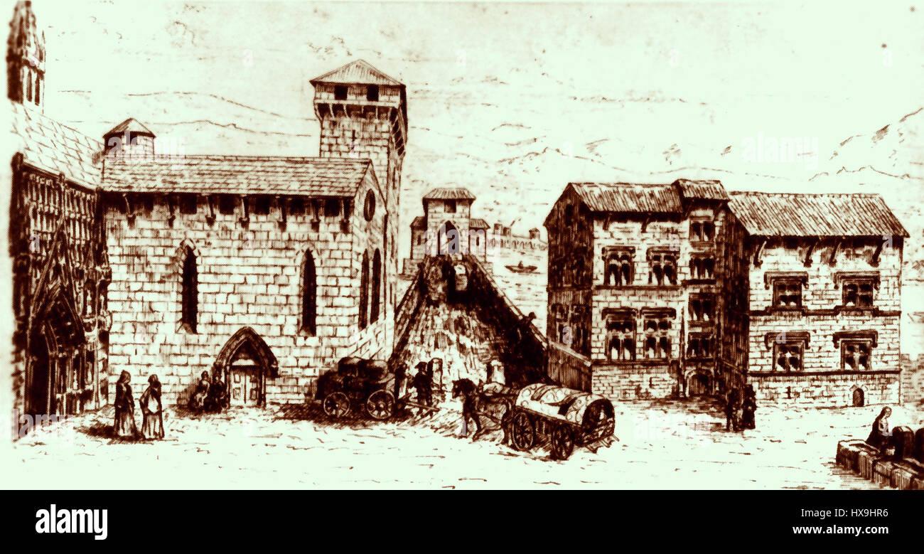 Pont Saint Esprit BC3A2timents de l'Oeuvre HospitaliC3A8re Louis Bruguier Roure 1890 - Stock Image