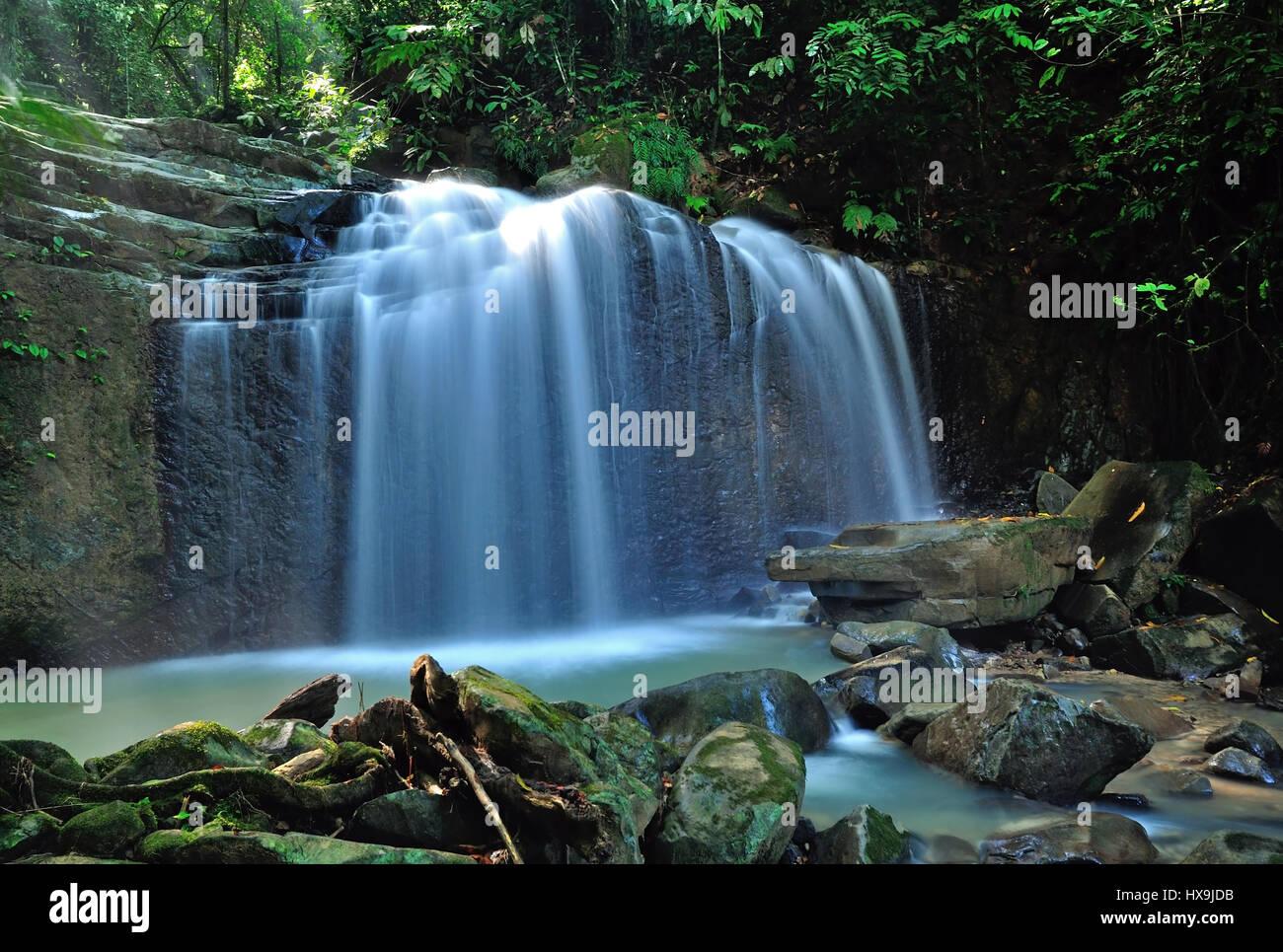 Waterfall in Kota Kinabalu, Sabah Borneo, Malaysia. - Stock Image