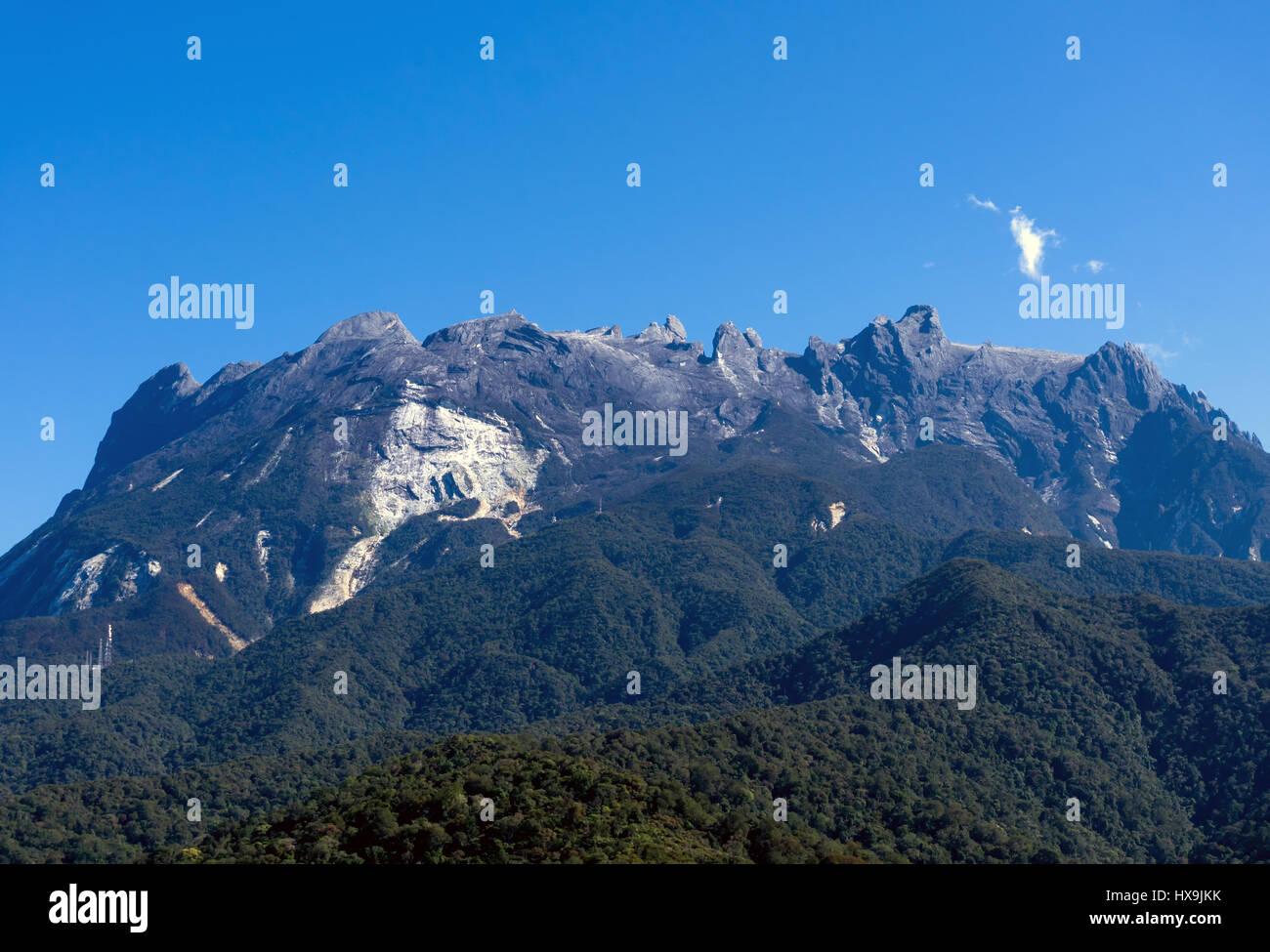Malaysia Sabah Borneo scenic view of Mount Kinabalu. - Stock Image
