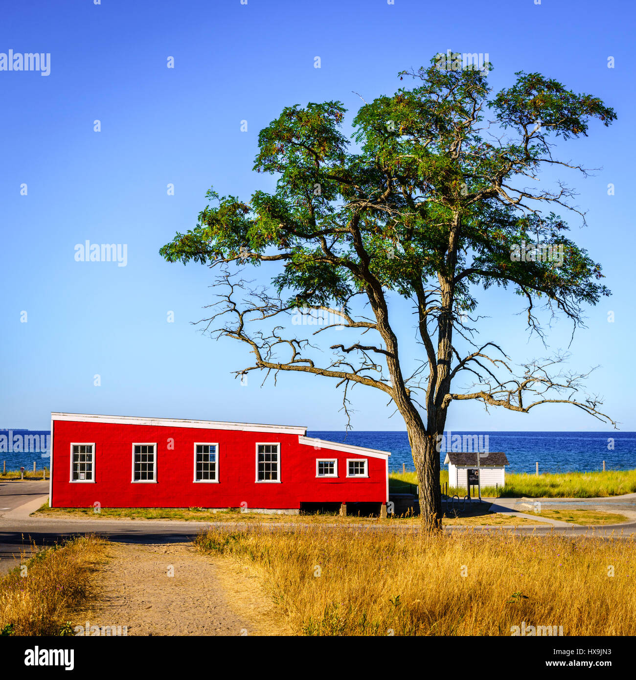Lakefront street in Glen Arbor, Michigan - Stock Image