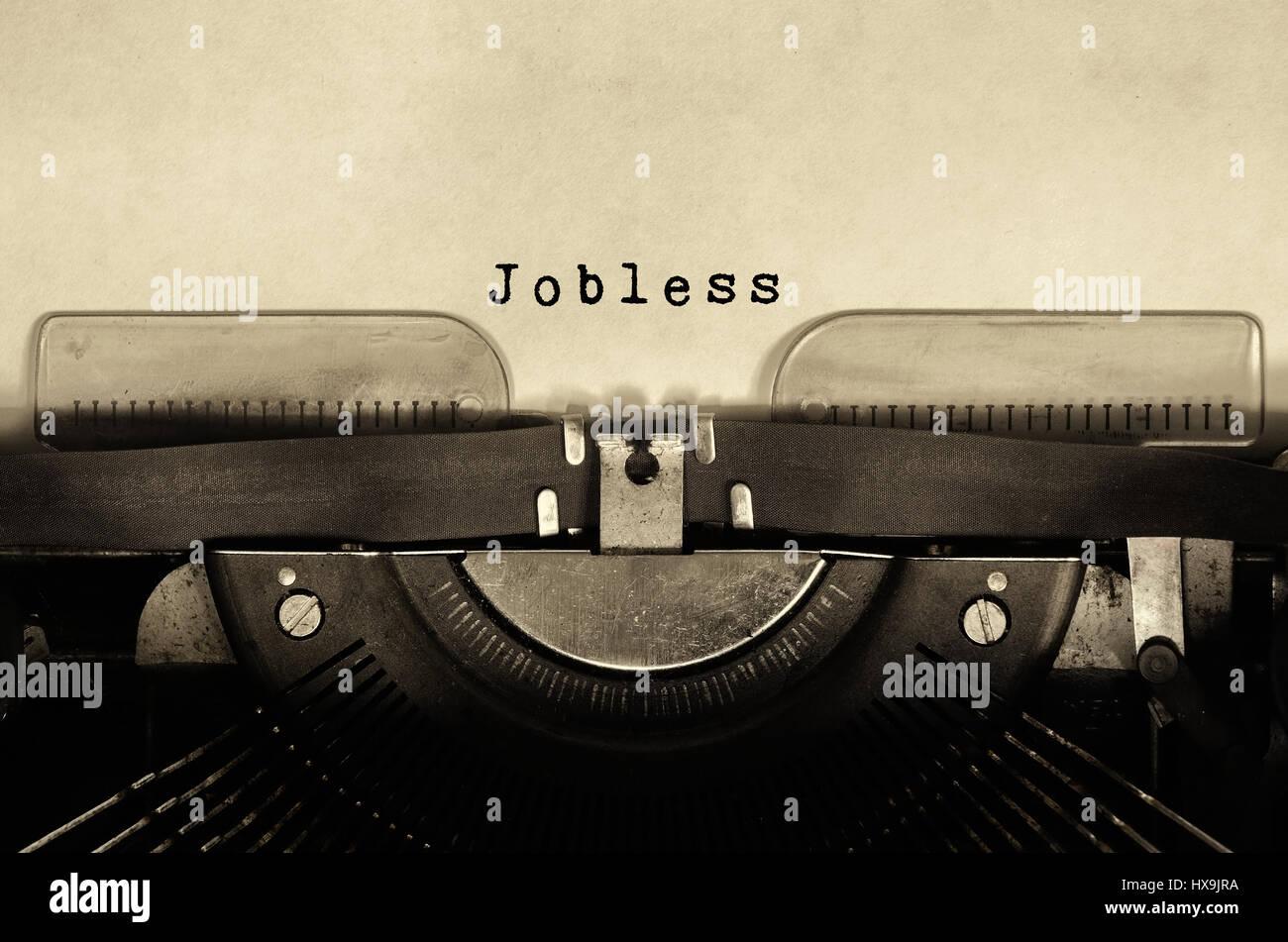 Jobless typed on vintage typewriter - Stock Image