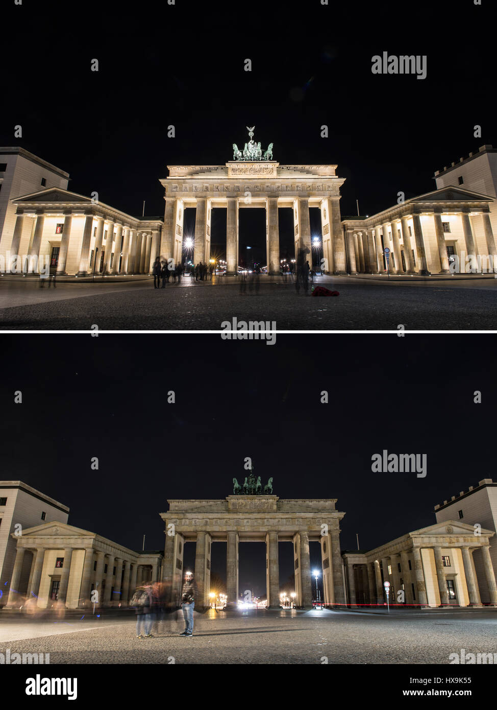 Berlin, Germany. 25th Mar, 2017. The combination picture shows the Brandenburg Gate lit up (above) and unlit (below) - Stock Image