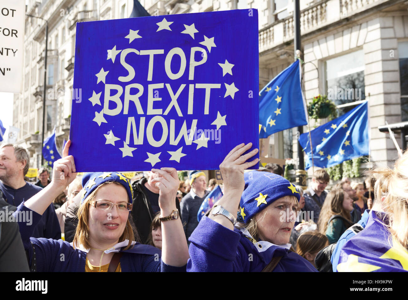 London, UK. 25th March 2017. Unite for Europe organised a Pro-EU march in London. Anti-BREXIT demonstrators march Stock Photo