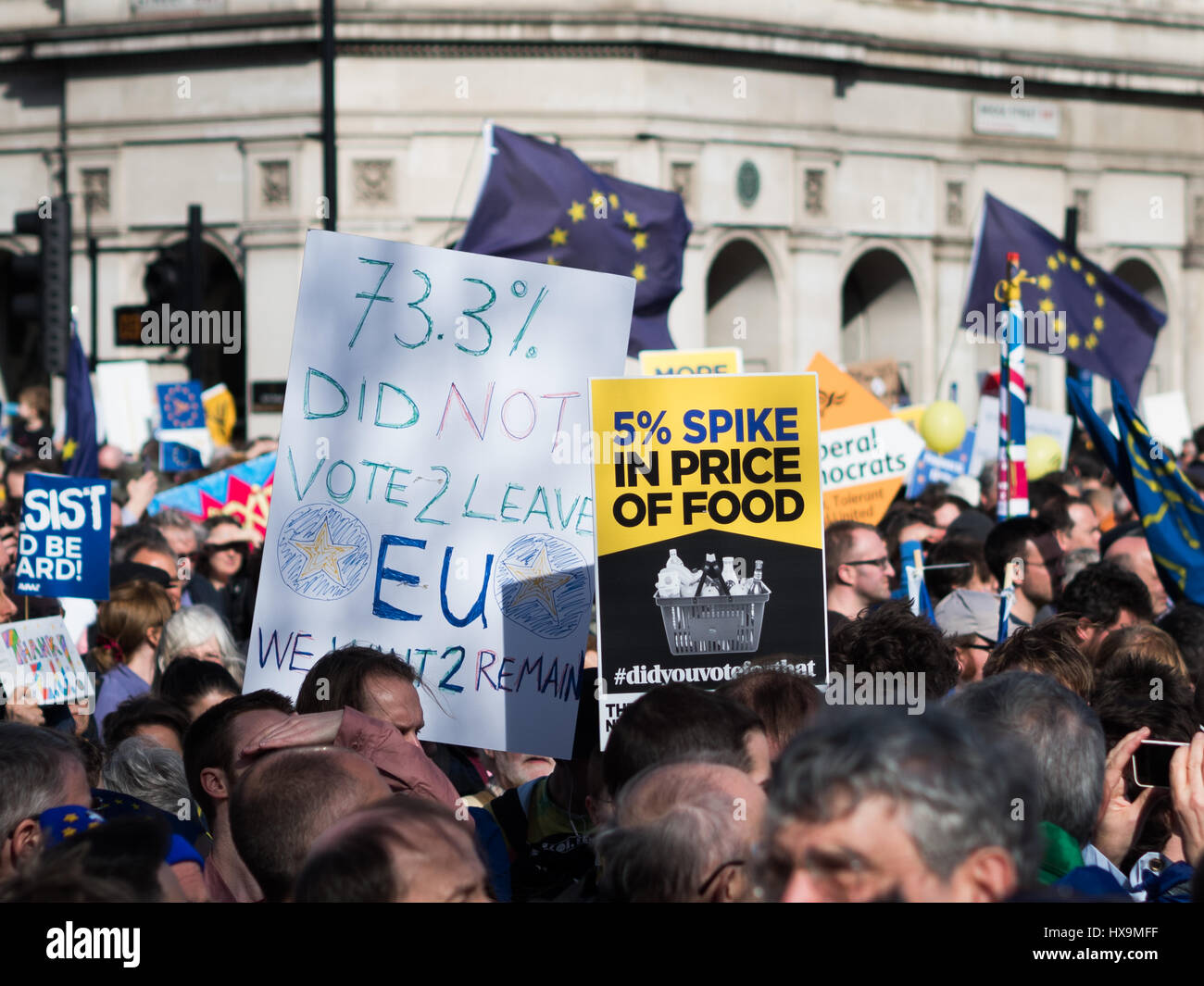 London, UK. 25th Mar, 2017. Banners carried by March for Europe participants. 5% spike in price of food. 73.3% didn't Stock Photo