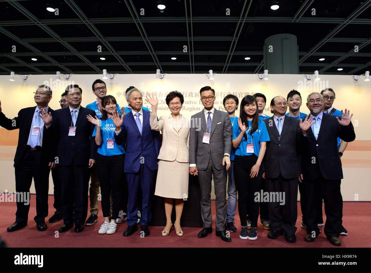 Hong Kong, China. 26th Mar, 2017. Lam Cheng Yuet-ngor meets the press after winning the election in Hong Kong, south Stock Photo