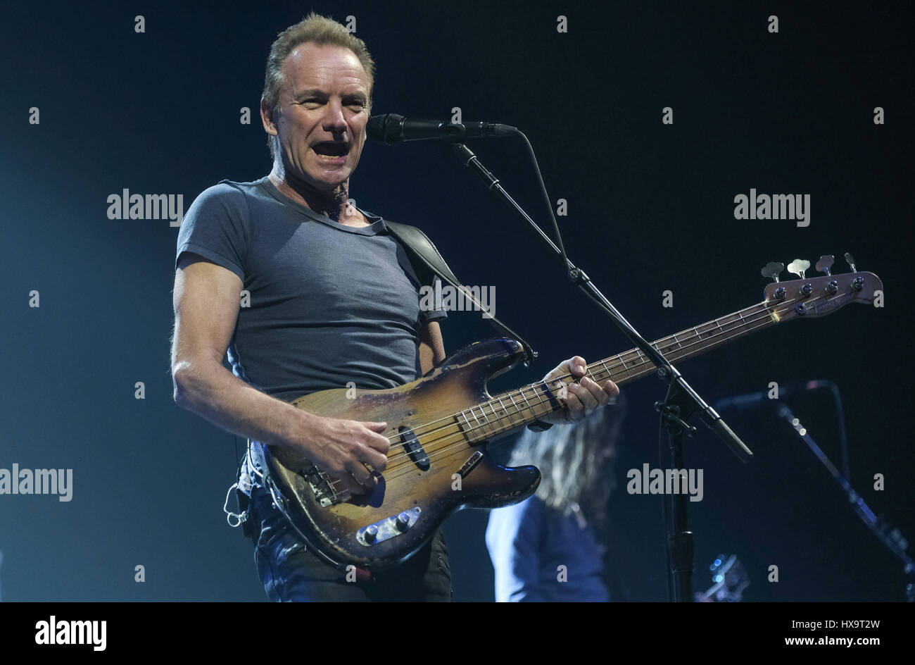Hamburg, Germany. 25th Mar, 2017. The musician Gordon Sumner, known as Sting, on the stage of the Alsterdorfer Sporthalle - Stock Image