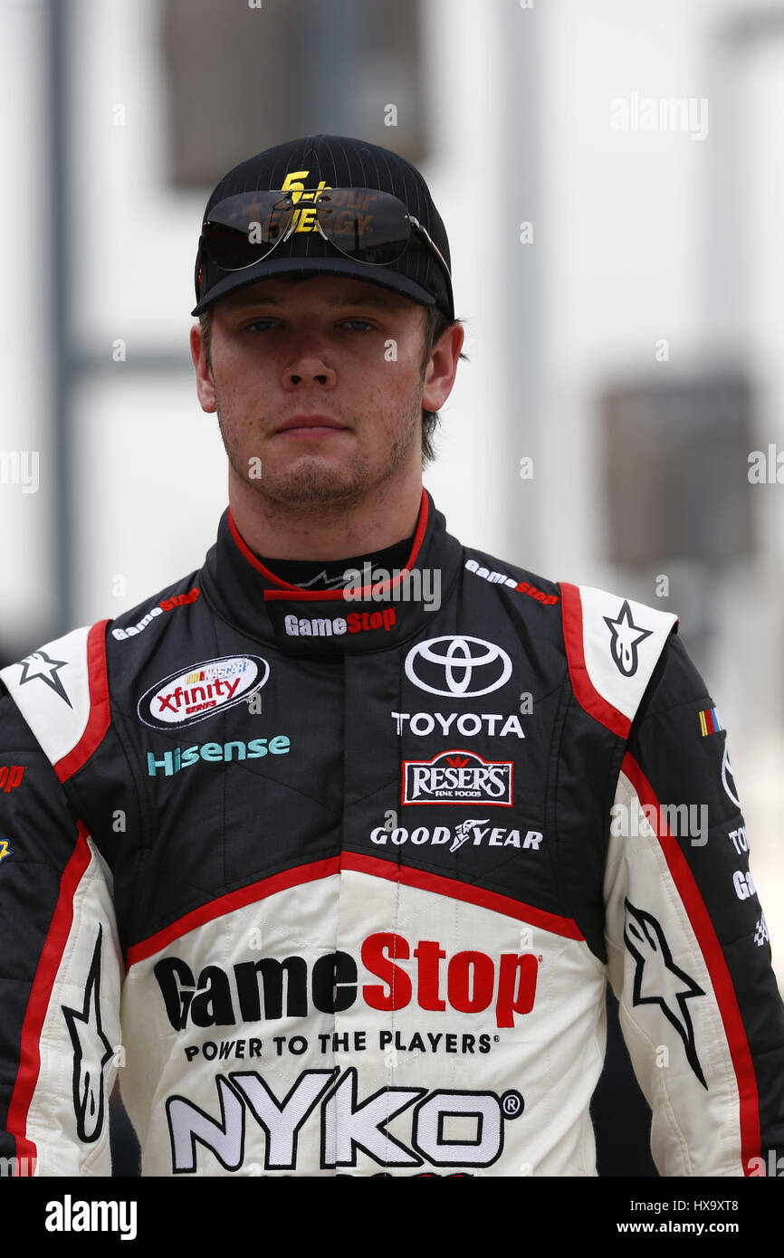 Fontana, California, USA. 25th Mar, 2017. March 25, 2017 - Fontana, California, USA: Erik Jones (20) hangs out on pit road during qualifying for the NASCAR Xfinity Series NXS 300 at Auto Club Speedway in Fontana, California. Credit: Justin R. Noe Asp Inc/ASP/ZUMA Wire/Alamy Live News Stock Photo
