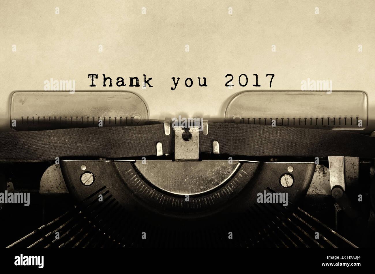 Thank you 2017 words typed on vintage typewriter. - Stock Image