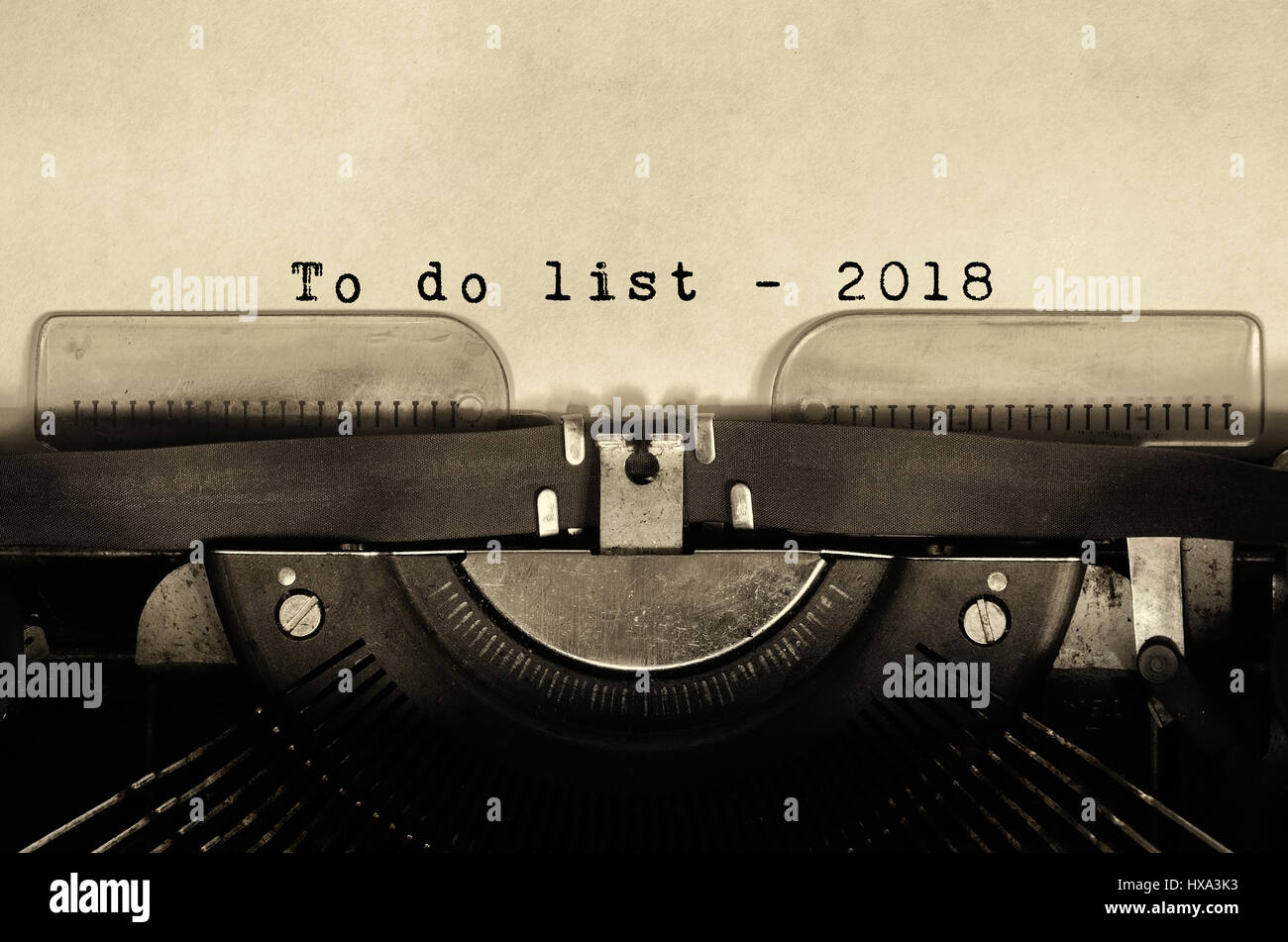 To do list 2018 words typed on vintage typewriter. - Stock Image