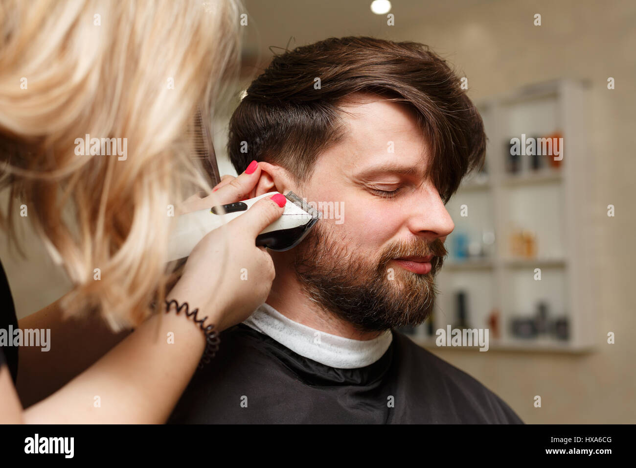 Professional Hairdresser Doing Haircut Mens Hair Cutting Electric