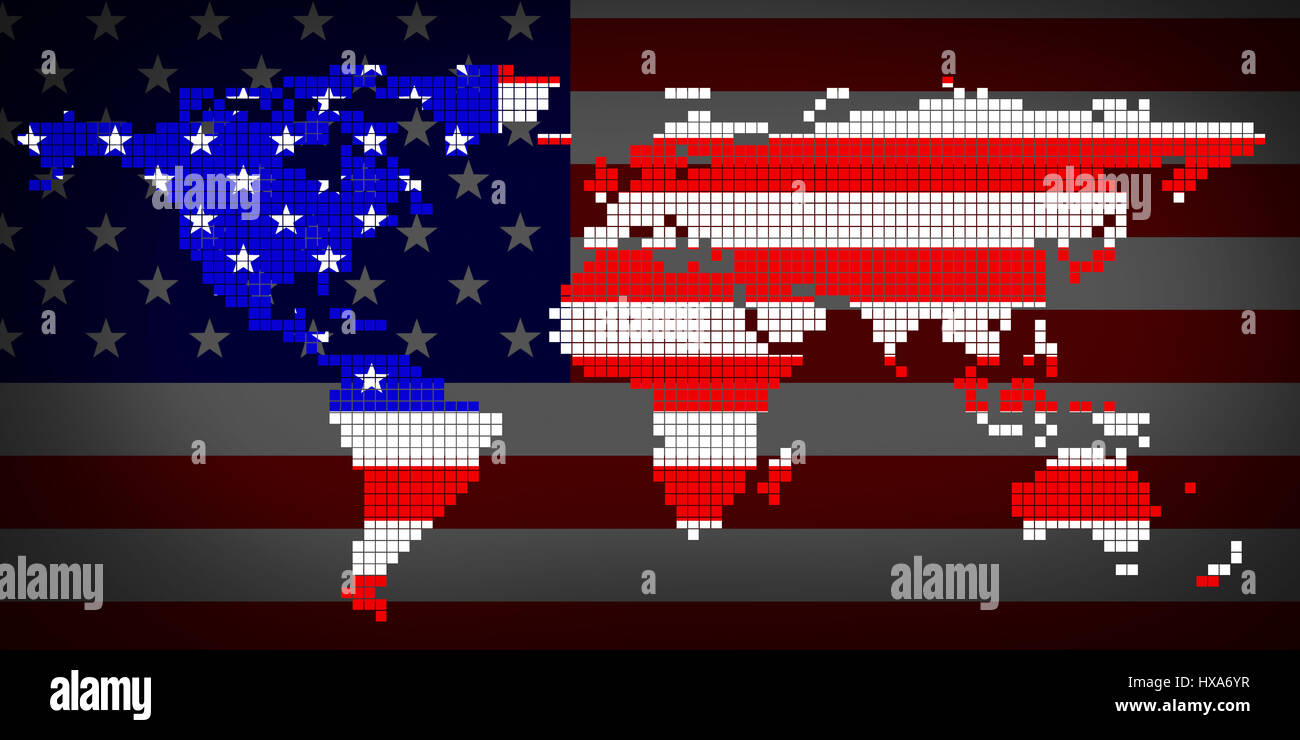 Flag usa and world map 3d illustration stock photo 136678635 alamy flag usa and world map 3d illustration publicscrutiny Gallery