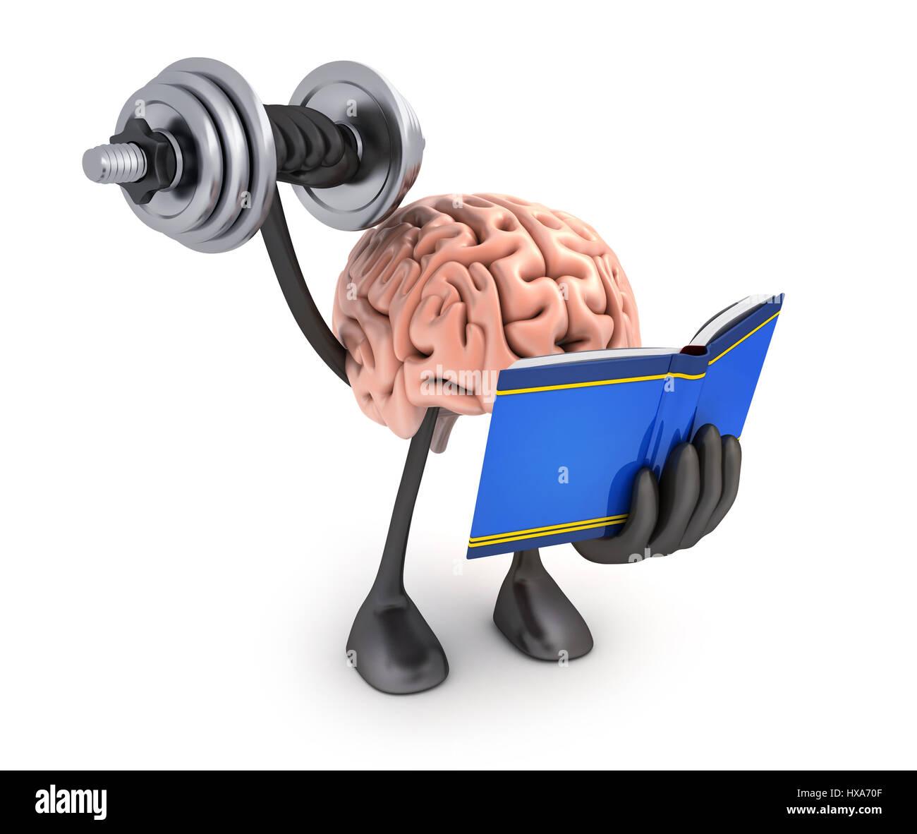 Brain training. Abstract symbol of education. 3d illustration - Stock Image