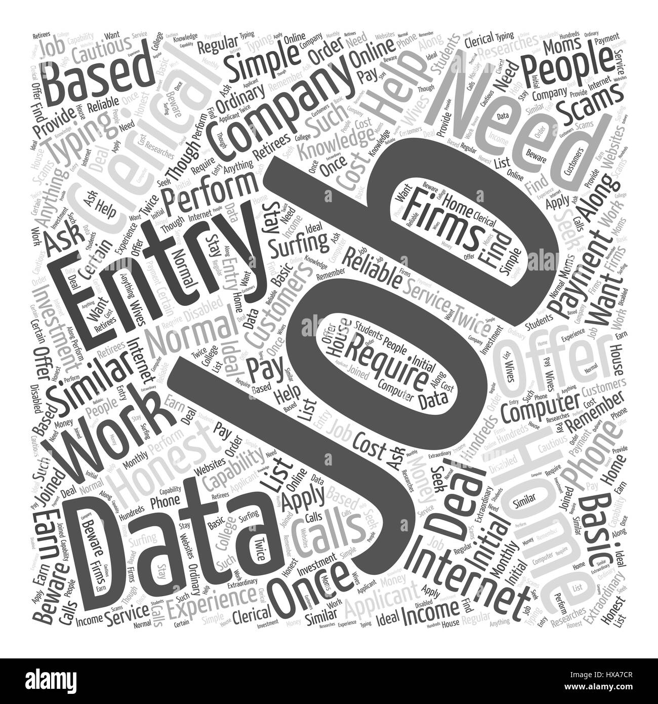 clerical data entry from home work word cloud concept stock vector