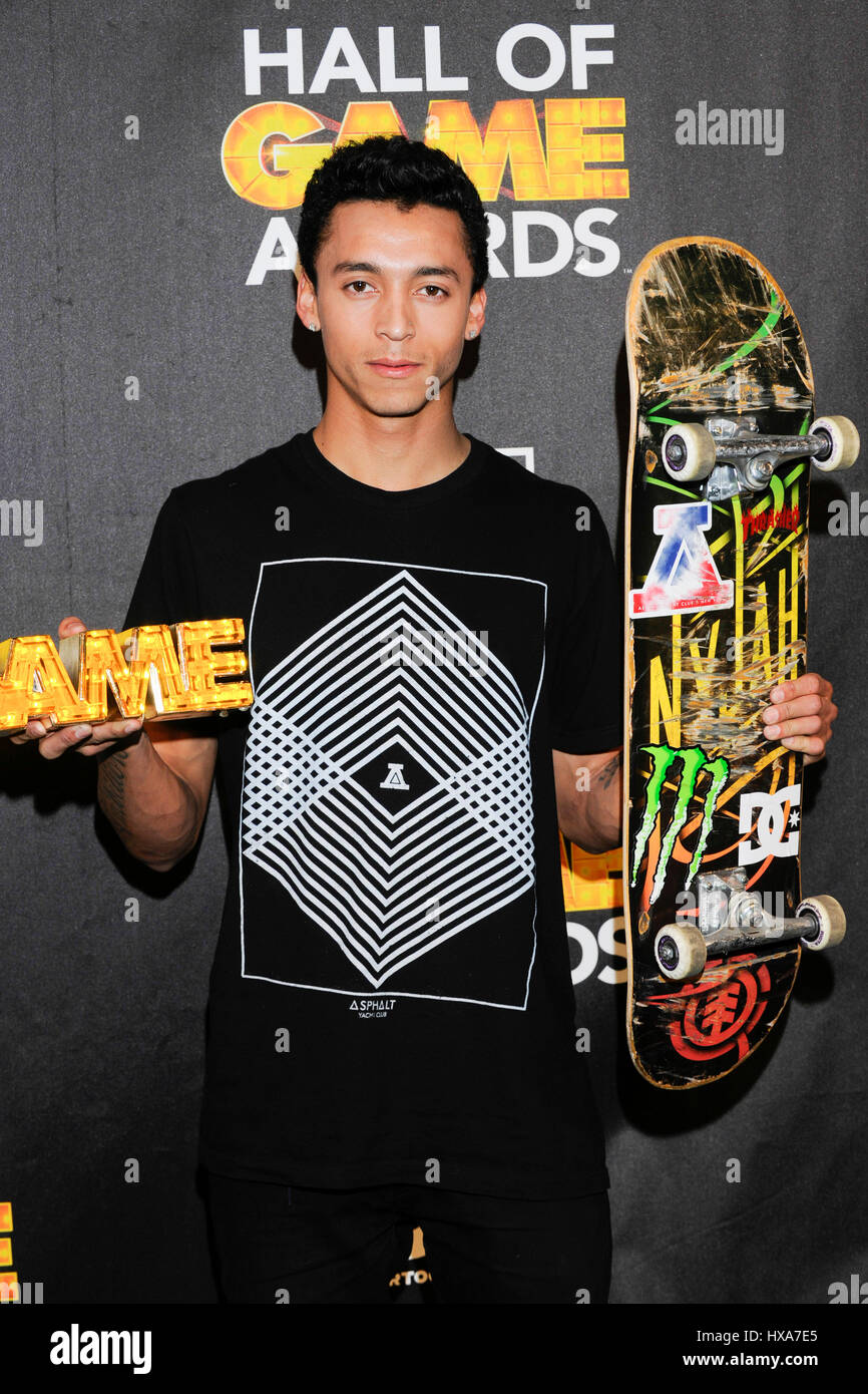 Nyjah Huston attends Cartoon Network's Hall of Game Awards press
