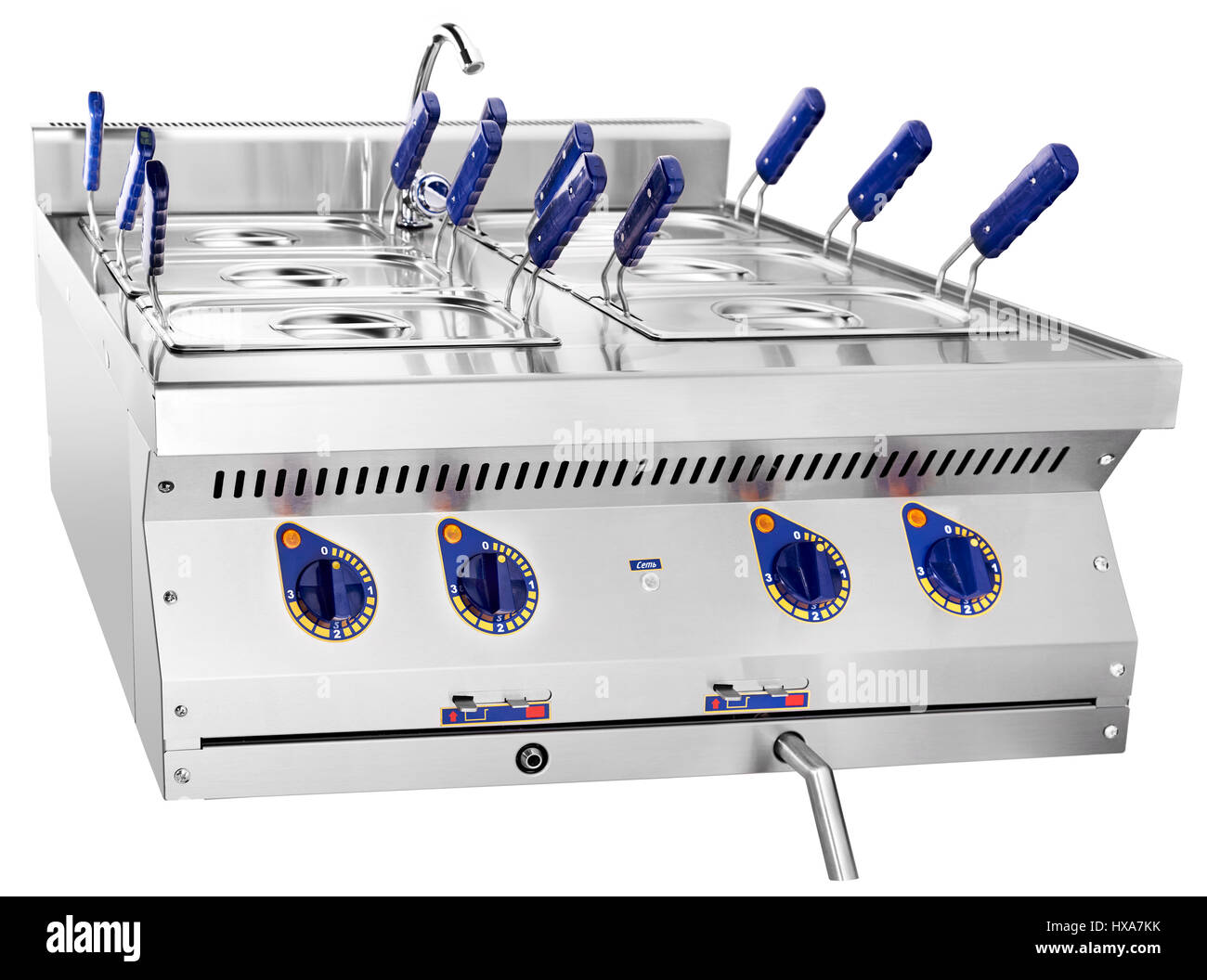 clean deep fryer close up photo in kitchen hi - Stock Image